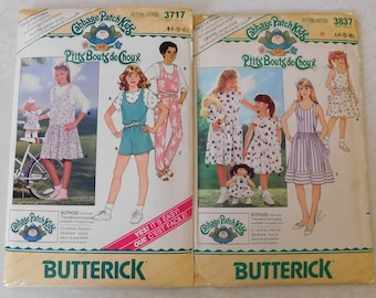 2 vintage Cabbage Patch Butterick Patterns girls & doll 4-6 with transfers new