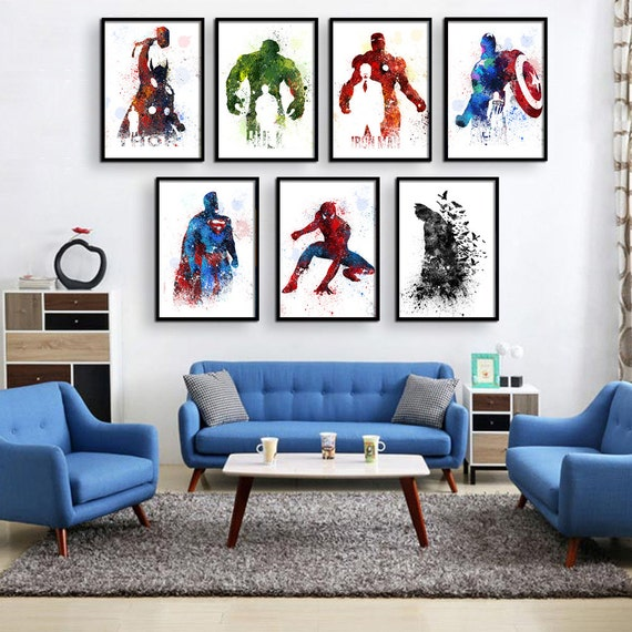 Superhero Art For Little Boys: Superhero Decor Super Hero Wall Art Superhero Room Decor