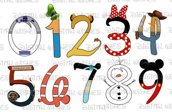 Cartoon Characters 9 Letters : Disney character font text numbers through digital clip