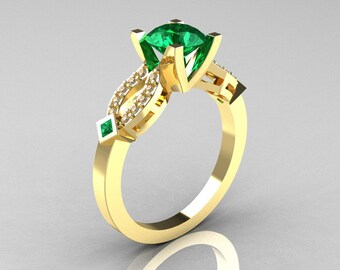 Classic 14K Yellow Gold Emerald Diamond Solitaire Ring R188-14KYGDEM