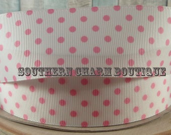 "3 yards 1 1/2"" light pink polka dot grosgrain ribbon"