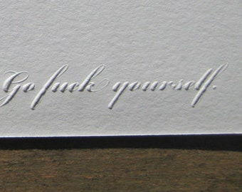 Go F%ck Yourself Embossed Card Pack of 3
