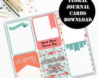 Floral Print Journaling Card Printable / Journal Cards / Scrapbook Kit / Journaling List / Listers Gotta List / Instant Download 00085