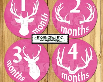 Baby Girl Monthly Stickers Baby boy Month Milestone Sticker Arrow Deer Antler Baby Month Sticker Monthly infant Stickers tribal hunter Pink