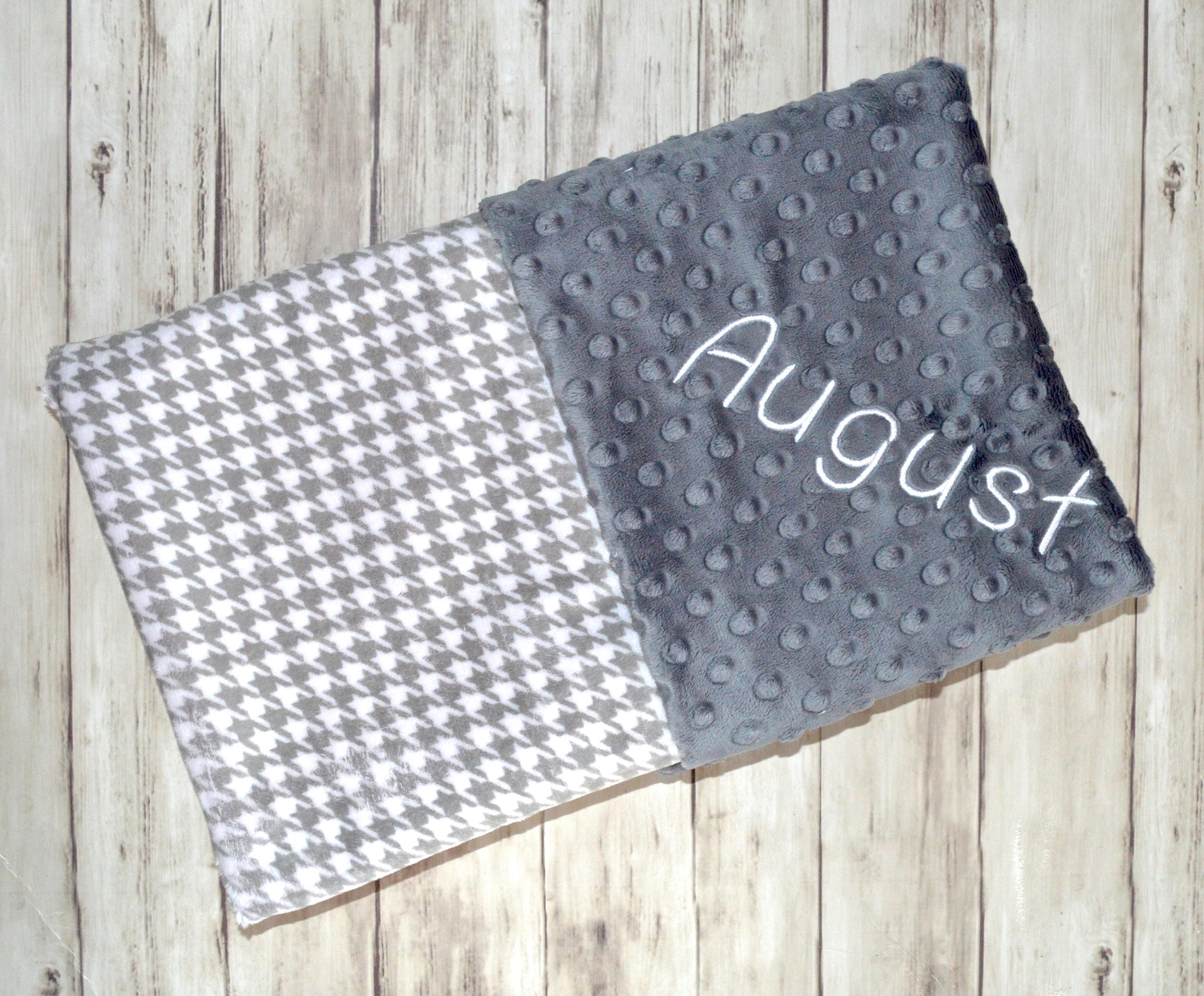 Sale monogrammed minky baby blanket charcoal gray and white sale monogrammed minky baby blanket charcoal gray and white houndstooth personalized baby gift gender neutral unisex blanket with name negle Choice Image