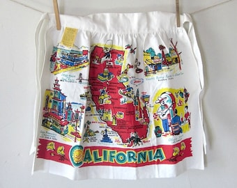 Vintage California Apron  Retro California Souvenir Collectible Souvenirs  Los Angeles San Francisco Collectibles Kitchen Beach Decor