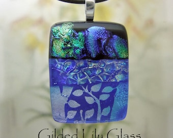 Silver Moonlight Dichroic Glass Pendant, Fused Glass Jewelry Handmade in North Carolina