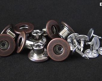 12sets   14mm - Anti-Copper  - EHSCB-F14 Flat Donut Tack Button [Non-swivel]