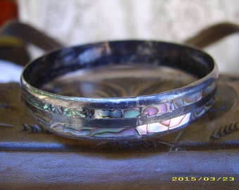 Vintage Eagle Mark Mexican Sterling Abalone Bangle Bracelet