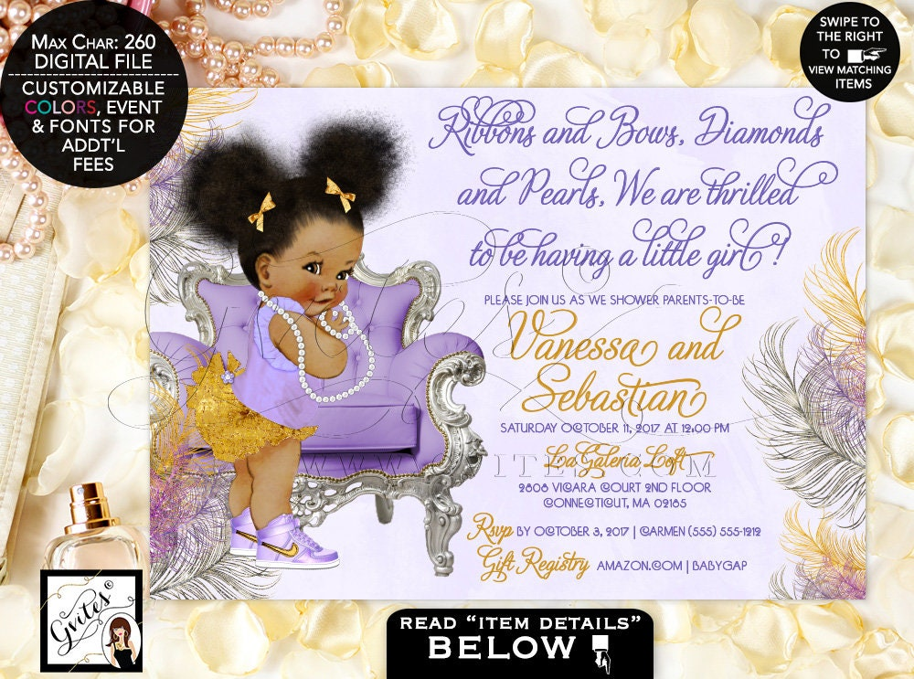 African American baby girl baby shower invitations, lavender purple ...