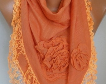 Orange Cotton Floral Scarf, Pumpkin,Halloween, Shawl, Fall,Cowl Lace Bridesmaid Bridal Gift Ideas For Her Women Fashion Accessories