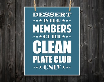 Clean Plate Club, Typography, Wall Art, Kitchen Typography, Home Decor, Quote Print, Kitchen Art, Retro, Kitchen Wall Art, Kitchen Print