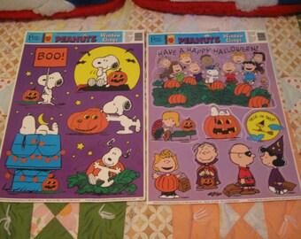 All 6 Vintage unused Peanuts HALLOWEEN sheets window clings-1996