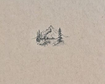 Original Ink Mountain Landscape Drawing