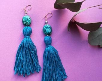 Teal tassel earrings, teal dangly earrings, vintage beaded statement earrings, gold earrings, festival style, turquoise marble earrings