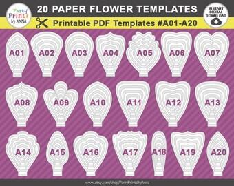 20 PDF Paper Flower Templates, 20 printable templates A01-A20, diy Giant large Paper Flower Petal Templates, molde de flores de papel