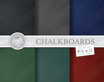 "CHALK Digital Paper: CHALKBOARD Backgrounds 8 1/2"" x 11"" Prints, Instant Download, CHALKBOARDS Blank Base Scrapbook Print"