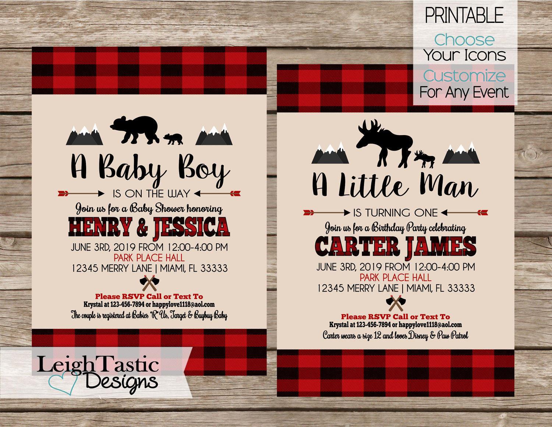 PRINTABLE Lumberjack Party Invitation Plaid Invitation