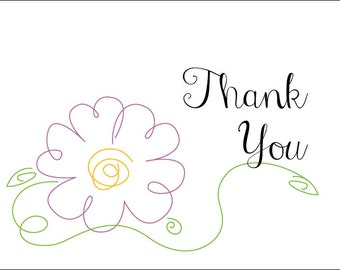 Thank You Cards, Daisy, Birdie, Butterfly (Set of 12)