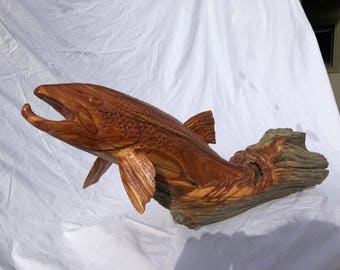 Abstract Brown Trout - Hand Carved from a 100+ year old Badlands Cedar Fence Post - Available Now - Non-Reproducable - One of a kind