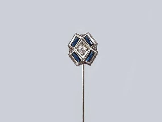Vintage Art Deco 14k white gold European cut diamond and blue sapphire stick pin, stickpin, lapel pin, tie pin, tie tack, brooch