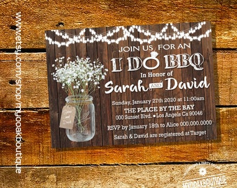 I Do BBQ Invitation Couples Shower Engagement Party Mason Jar Wood Country Chic Bridal Digital