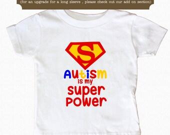Autism Shirt is My Super Power Shirt Awareness Baby Bodysuit Toddler Shirt