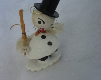Vintage White Mica Putz Glittered Snowman Holding Wicker Broom Made in Japan, White Mica Snowman, Cardboard Putz Snowman with Broom