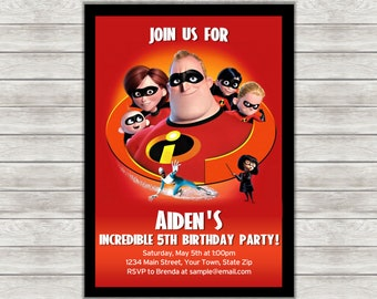 The Incredibles Birthday Invitation, Incredibles Invitation - Digital File (Printing Services Available)