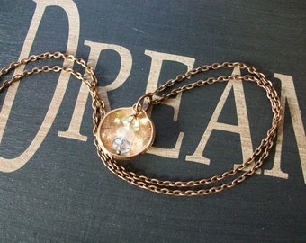 """Copper Necklace """"Wake up and Start Dreaming"""" Hand Hammered and Polished"""