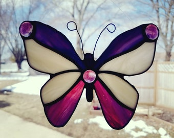 Purple Butterfly Stained Glass