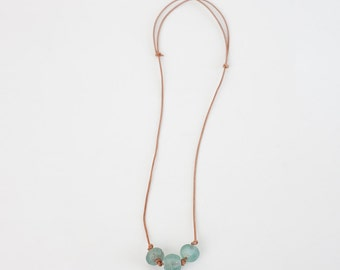 Triple Glass Bead and Leather Necklace / Handmade by Menstruum