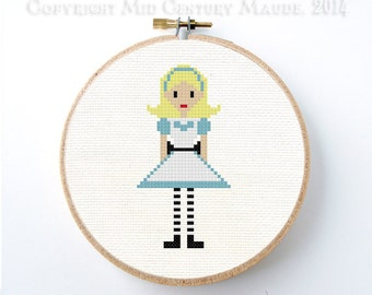 Alice in Wonderland Cross Stitch Pattern instant download PDF Digital Needlepoint Easy Cute