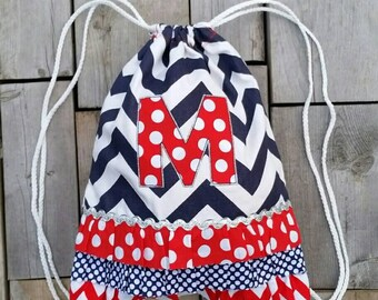 "Dance and Cheer Drawstring Backpack with ""M"" Monogram - Personalized Backpack - Childrens Backpack - Kids Backpack - Ready to ship"