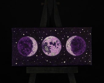 "Oil Painting - Sacred Feminine Moon in Goddess Grape Sky, 2"" x 4"", Comes with mini black easel and magnet strips on back"