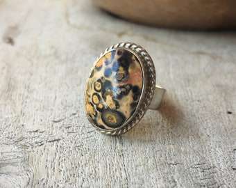 Ocean Jasper Ring Made in Taxco, Mexican Silver Jewelry, Sterling Silver Ring for Women