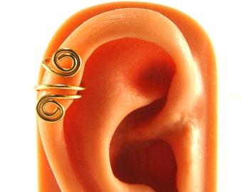 Ear Cuff No Piercing Upper Cartilage Spiral Gold