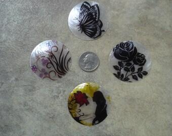 30+ Destash Lot of 50mm Capiz Shell Focals, Jewelry Making Supplies, Bead Destash, Clearance Destash