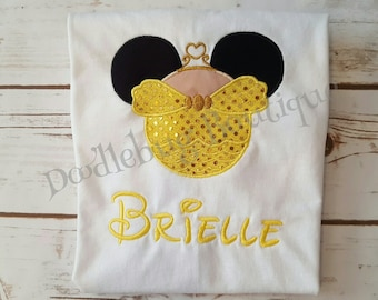 Sparkle Belle Minnie Mouse shirt with name.