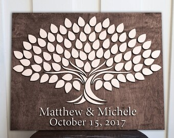 Personalized Guestbook |   Wedding Guestbook | 14x18 Tree | Alternative Wedding Guest Signing  Book | 3d Wood Tree Guestbook |
