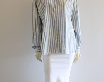 Early 90's Vintage Striped Denim Chambray Blouse