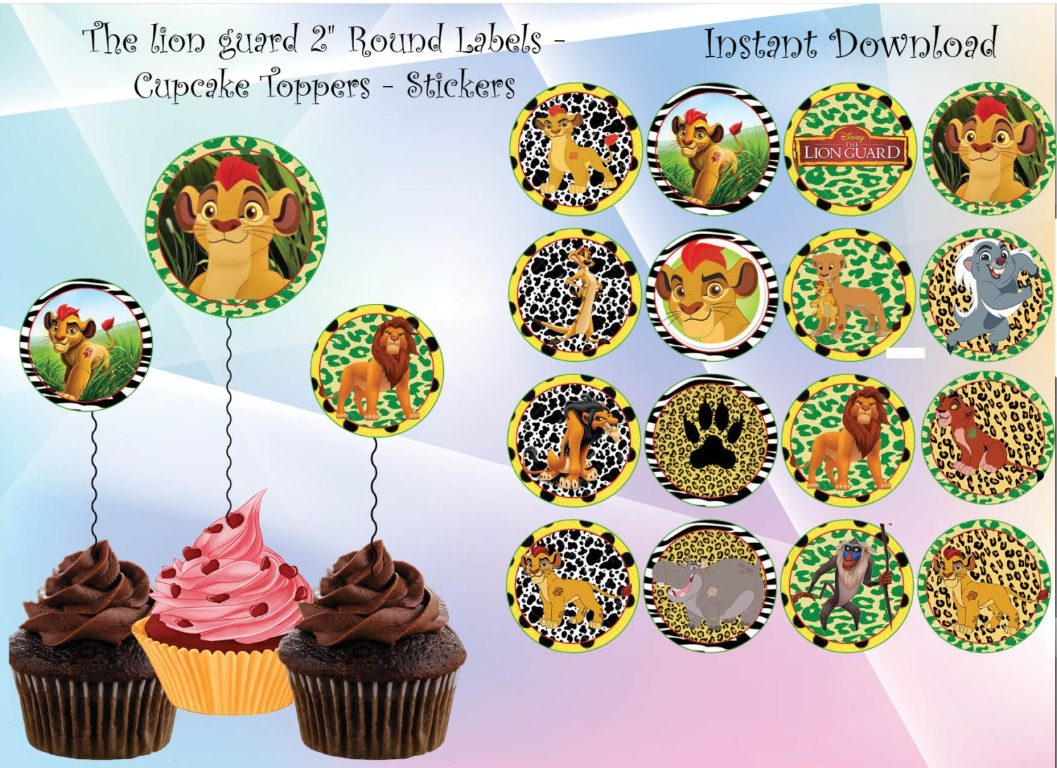 Instant Dl The Lion Guard Cupcake Toppers The Lion Guard
