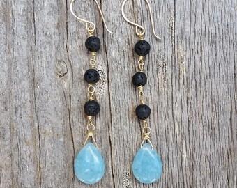Long Drop Lava Rock Earrings / Beach Boho Drop Earrings / Summer Long Dangle Earrings / Bohemian Earrings / Blue and Black Earrings