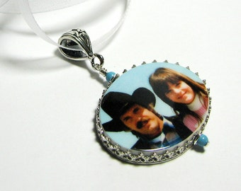 Sterling Framed Photo Pendant - Large - FP18Pf - Memory Charm, Personalized, Custom Keepsake Jewelry, Sympathy Jewelry