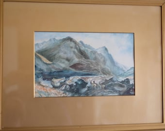 Framed and glazed Scottish watercolour painting of stags