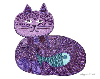 Cat Art Cards-Fishbelly Yarn Cat 5x7 Card by beckyzimm