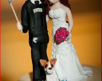 Custom wedding cake topper, Bride and groom cake topper, personalized cake topper, Mr and Mrs cake topper, custom sports themed cake topper