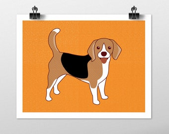Beagle Dog Art Print - Dog Prints Series. beagle drawing, dog breeds, beagle art, orange art, dog lover gift, beagle wall decor