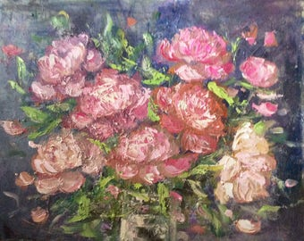 Peonies flowers paintings pink flowers Oil original floral painting 16 x 20""