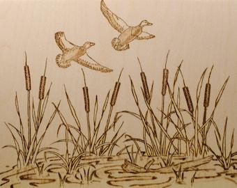 Wood Burned Flying Ducks
